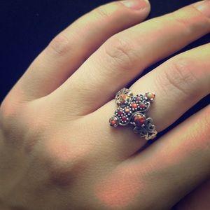 925 Sterling Silver Ring Fire Opal Sz 7